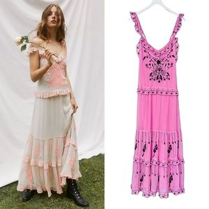 Free People Coralie Dress in Pink Crystal Combo